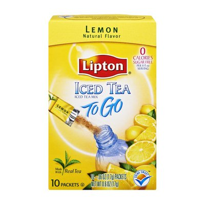 Lipton Iced Tea Sugar Free Lemon Iced Tea Mix To Go- 10 CT