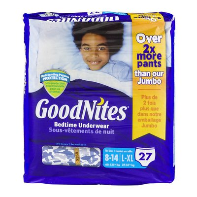 GoodNites Bedtime Underwear 8-14/L-XL Cool Designs - 27 CT