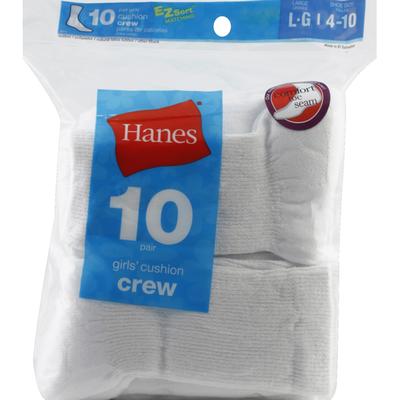 Hanes Socks, Cushion Crew, Girls, Large