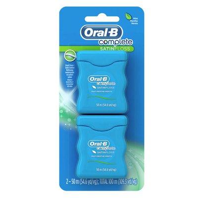 Oral-B Manual Complete Satin Floss Dental Floss, Mint