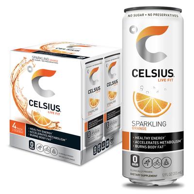 CELSIUS Fitness Drink, Sparkling, Orange, 4 Pack