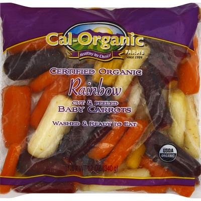 Cal Organic Farms Baby Carrots, Rainbow, Cut & Peeled