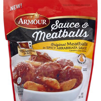 Armour Sauce & Meatballs, Original Meatballs in Spicy Arrabbiata Sauce
