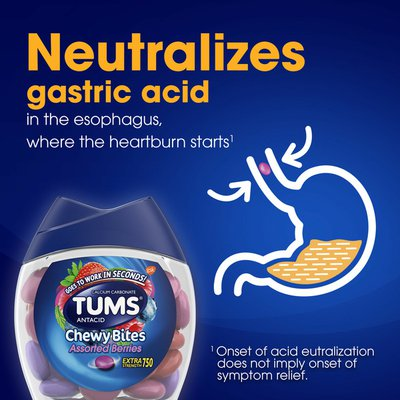 Tums Antacid Chewy Bites Extra Strength Berries, Antacid Chewy Bites Extra Strength Berries