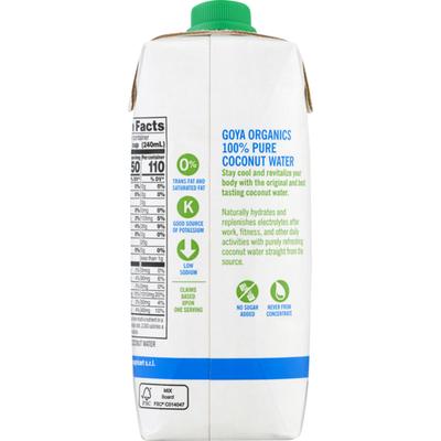 Goya Organic Coconut Water, 100% Pure