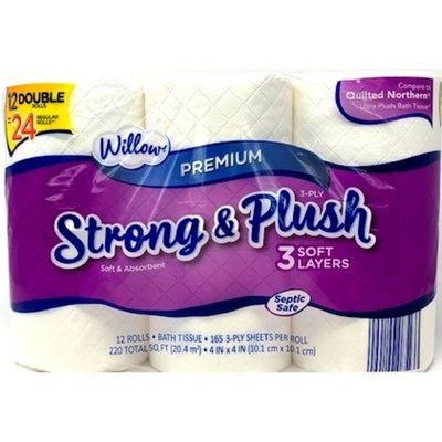 Willow 165-Sheet Double Roll 3-Ply Bath Tissue