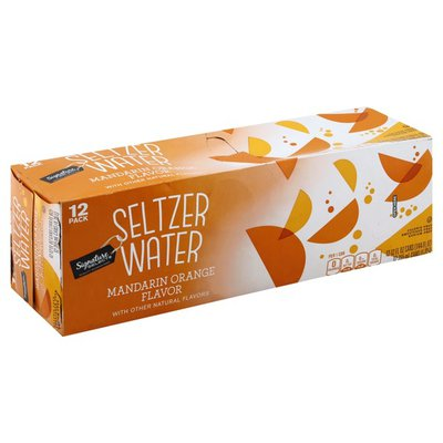 Signature Select Seltzer Water, Mandarin Orange Flavor, 12 Pack