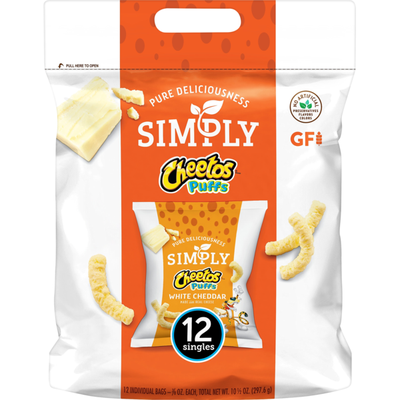 Frito-Lay Cheetos Simply Puffs White Cheddar Cheese Flavored Snacks ( - .875 )    Count Plastic Bag