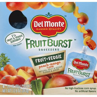 Del Monte Squeezers, Fruit & Veggie, Peach-Mango Flavor