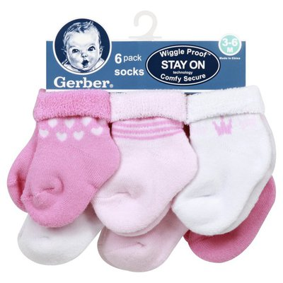 Gerber Socks, 3-6 M, 6 Pack