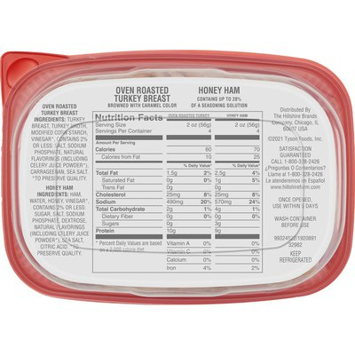 Hillshire Farm Ultra Thin Oven Roasted Turkey Breast & Honey Ham Sliced Deli Meat
