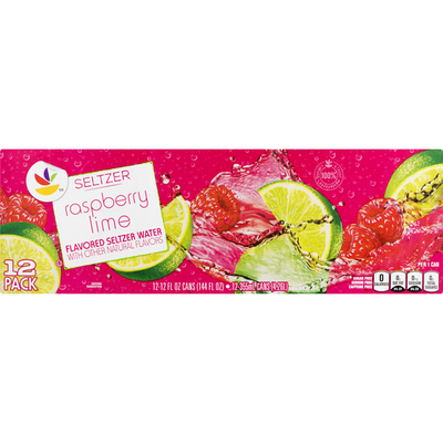 SB Seltzer Water, Raspberry Lime, 12 Pack