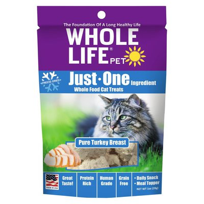 Whole Life Pet Pure Turkey Breast Just One Ingredient Whole Food Cat Treats