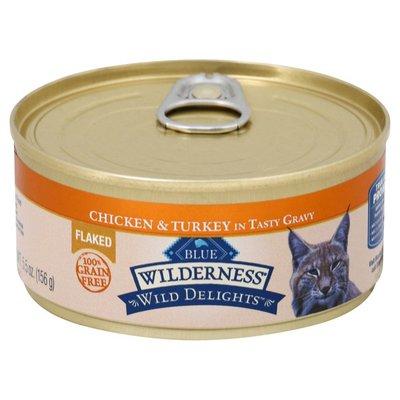 Blue Buffalo Wilderness Wild Delights High Protein Grain Free, Natural Adult Flaked Wet Cat Food, Chicken & Turkey