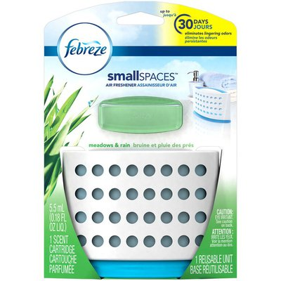 Febreze Small Spaces Air Freshener Starter Kit with Gain Scent, Meadows & Rain