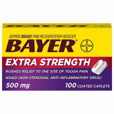 Bayer Aspirin, Extra Strength, 500 mg, Coated Caplets