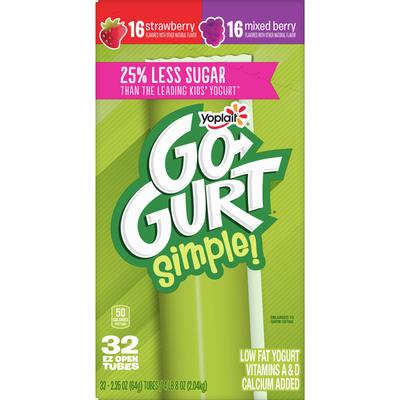 Go-Gurt Strawberry & Mixed Berry Yogurt Variety Pack, 32 Count
