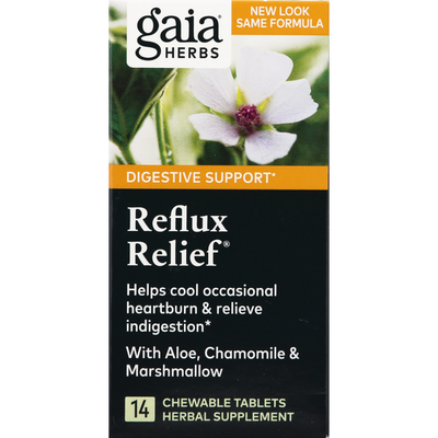 Gaia Herbs Reflux Relief, Chewable Tablets