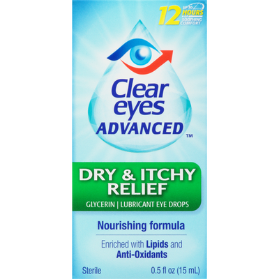 Clear Eyes Lubricant Eye Drops, Dry & Itchy Relief, Sterile