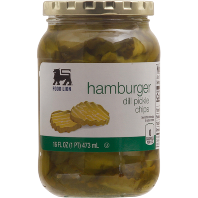 Food Lion Pickle Chips, Dill, Hamburger