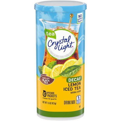 Crystal Light Decaf Lemon Iced Tea Naturally Flavored Powdered Drink Mix