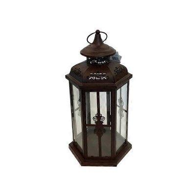 Medium Floral Lantern Iron & Glass