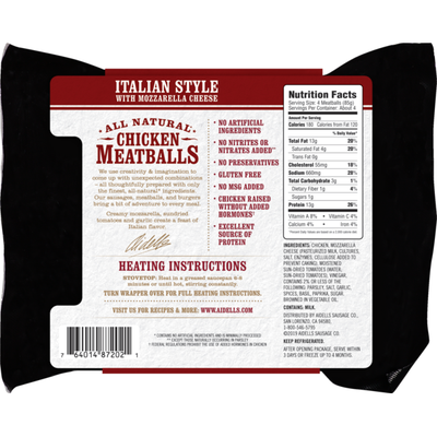 Aidells Chicken Meatballs Italian Style With Mozzarella Cheese