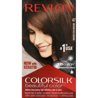 Colorsilk Permanent Hair Color, 47 Medium Rich Brown