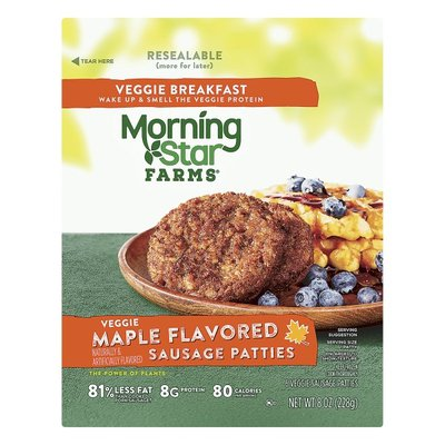 Morning Star Farms Meatless Sausage Patties, Plant Based Protein, Frozen Breakfast, Maple Flavored