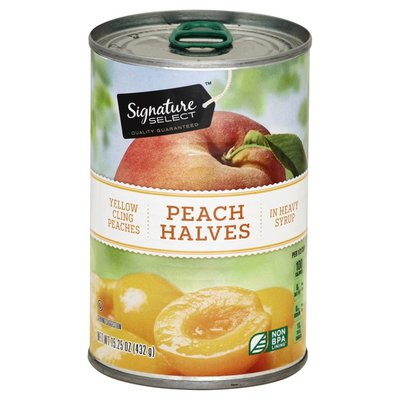 Signature Select Peach Halves, in Heavy Syrup, Yellow Cling