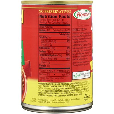 Hormel Chili 99% Fat Free Vegetarian with Beans