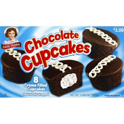 Little Debbie Cupcakes, Creme Filled, Chocolate