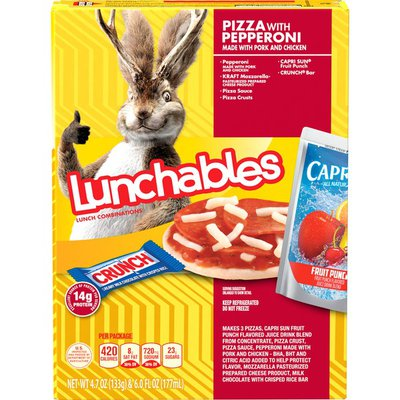 Lunchables Pizza with Pepperoni Meal Kit with Capri Sun Fruit Punch Drink & Crunch Candy Bar