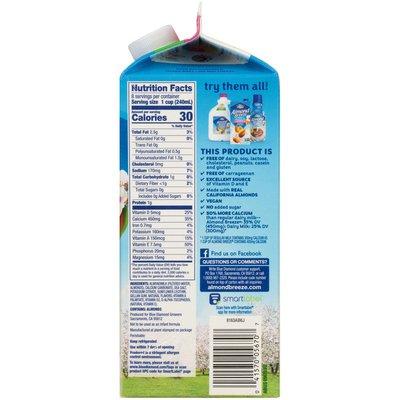 Almond Breeze Unsweetened Original Almondmilk Non Dairy Milk Alternative