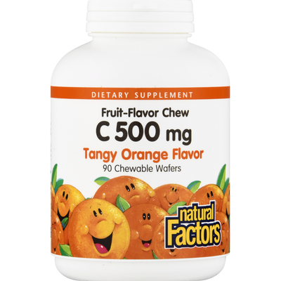 Natural Factors Vitamin C, 500 mg, Chewable Wafers, Tangy Orange Flavor