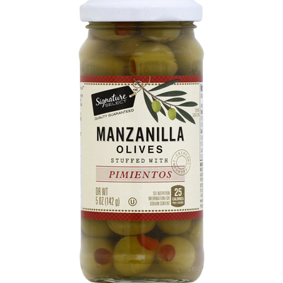 Signature Select Olives, Manzanilla, Stuffed with Pimientos