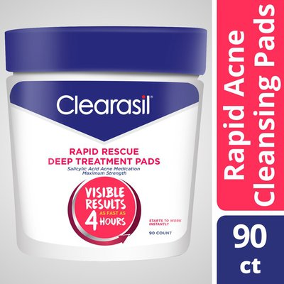 Clearasil Acne Treatment Facial Cleansing Pads- Rapid Rescue Deep Treatment Pads with Salicylic Acid
