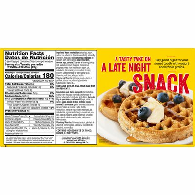 Kellogg's Nutri-Grain Frozen Waffles, Good Source of 9 Vitamins and Minerals, Blueberry