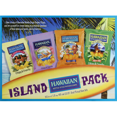Hawaiian Potato Chips, Kettle Style, Island Pack