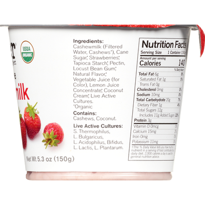 Forager Project Cashewmilk Yogurt, Dairy Free, Organic, Strawberry