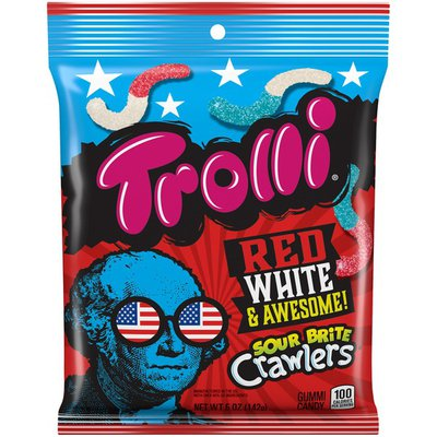 Trolli SOUR BRITE CRAWLERS Red White & Awesome Gummi Candy