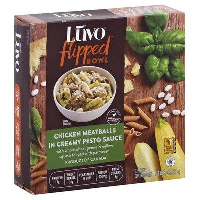 Luvo Flipped Bowl, Chicken Meatballs in Creamy Pesto Sauce