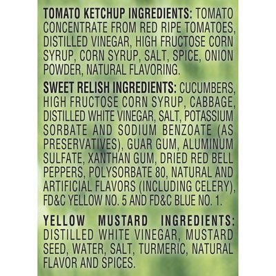 Heinz Ketchup/Sweet Relish, Yellow Mustard Picnic Pack
