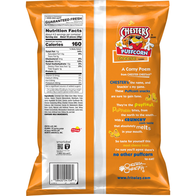 Chester'S Puffcorn Cheese Puffed Corn Snacks