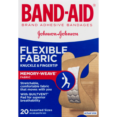 Band-Aid Brand Flexible Fabric Knuckle & Finger Adhesive Bandages