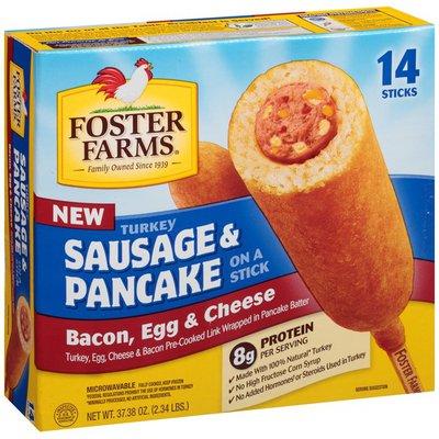Foster Farms Turkey Sausage & Pancake, On a Stick, Bacon, Egg & Cheese