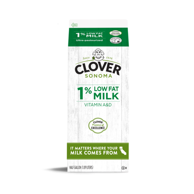 Clover Sonoma Conventional UHT 1% Low Fat Milk Half Gallon
