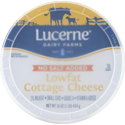 Lucerne Cottage Cheese, No Salt Added, Small Curd, 1% Milkfat, Lowfat