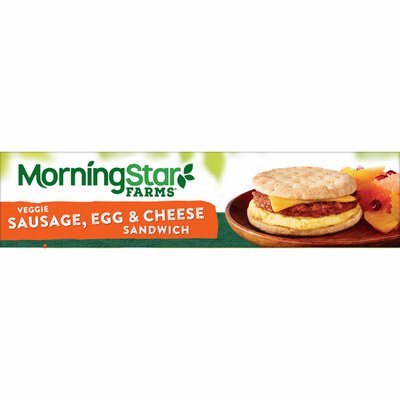 Morning Star Farms Sandwich, Plant Based Protein, Meatless Sausage Egg and Cheese