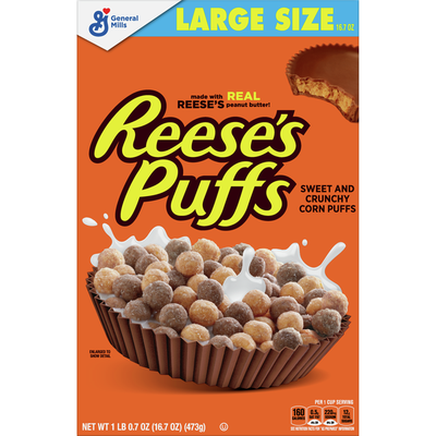 Reese's Puffs Breakfast Cereal, Chocolate Peanut Butter, with Whole Grain